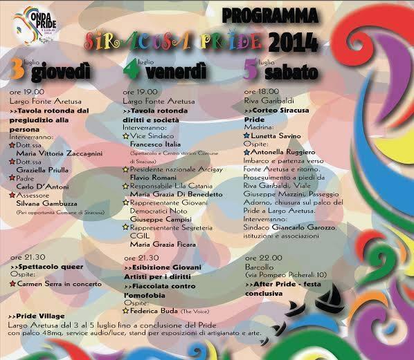 programma siracusa pride 2014