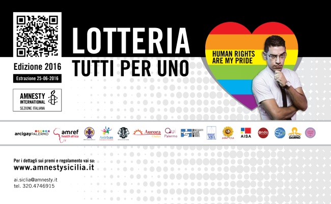 "Ritorna la lotteria siciliana di Amnesty International ""Tutti per uno!"""